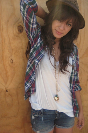 levis thrifted plaid shirt - Urban Outfitters fedora - Forver21 shirt - denim Ho