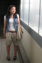 Charles & Keith shoes - my dads shorts - Mango vest - chris oliva shirt
