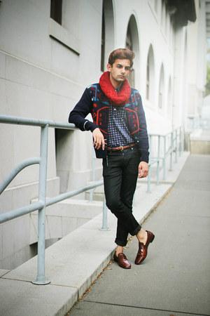 waxed Zara jeans - polo Uniqlo shirt - infinity Zara scarf