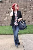 black boyfriend style Lauren Conrad blazer - navy H&M jeans