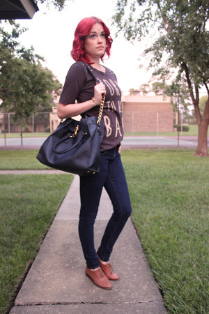navy Forever 21 jeans - charcoal gray studded Forever 21 shirt