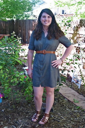 green Converse dress - brown belt - brown BOC shoes - gold Urban Outfitters brac
