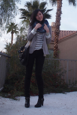 black Ralph Lauren boots - tan Zara blazer - teal Missoni scarf