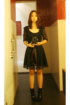 black Topshop dress - black Nine West boots