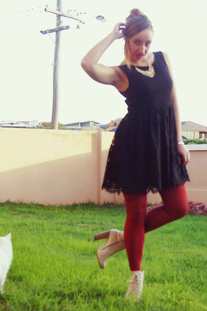 nude rubi boots - black lace Forever New dress - ruby red Dotti tights