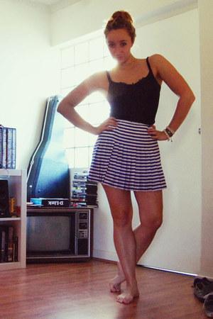 blue striped Forever New skirt - black MQ top