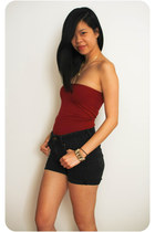 red American Apparel dress - black high waisted H&M Trend shorts