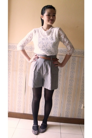white top - gray moms old shorts - black stockings - shoes - brown belt