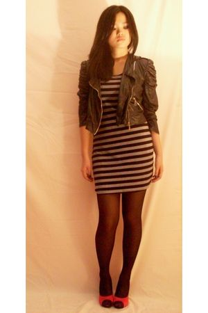 dress - black jacket - pink shoes - black stockings