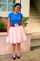 pink DIY skirt - blue shoes - blue shirt