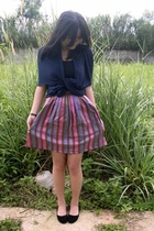 black shoes - skirt - black top - blue cardigan