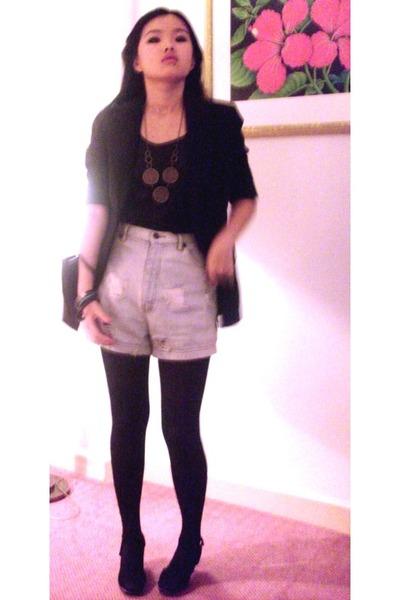 black blazer - black top - blue shorts - black Marks and Spencers tights - black