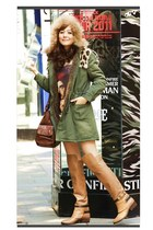 bronze leather boots - army green coat - crimson vintage classic bag