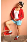 Sky-blue-striped-bcbl-shorts-white-zara-top-ruby-red-mango-cardigan-brick-