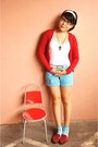 Sky-blue-striped-bcbl-shorts-ruby-red-mango-cardigan-white-zara-top-brick-