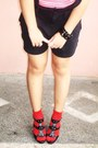 Black-jumper-splash-shorts-red-striped-splash-socks-black-red-hot-heels-re