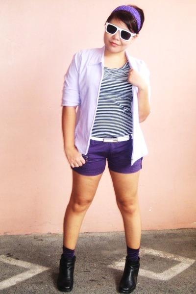 amethyst vintage blazer - deep purple SM shorts - deep purple SM socks - white M