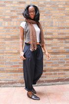blue pants - brown cydwoq shoes - white shirt - orange belt - brown vest