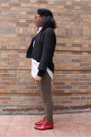 blue Zara blazer - black cardigan - white adrienne vittadini shirt - gray rick o