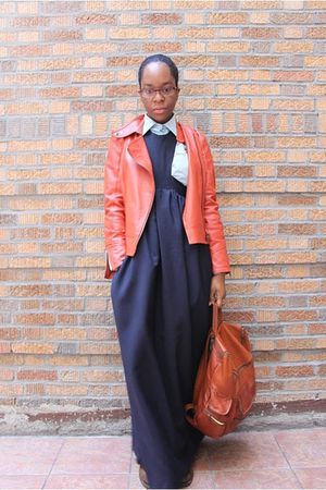blue acne dress - orange jacket - blue cool hunting people shirt - brown Frye bo