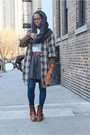 Brown-walter-coat-gray-h-m-scarf-white-dkny-dress-gray-calvin-klein-skirt-