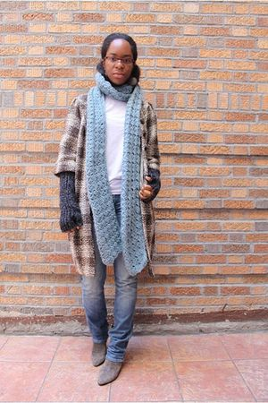 brown Walter jacket - gray H&M cardigan - white DKNY shirt - gray me too boots -
