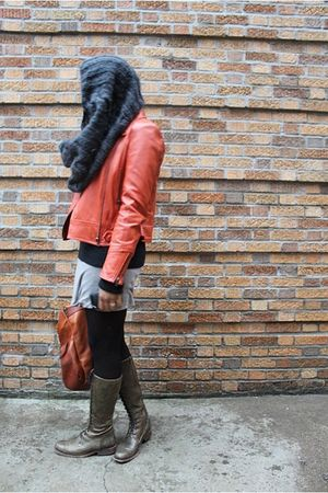 orange jacket - gray free people sweater - white adrienne vittadini shirt - gray
