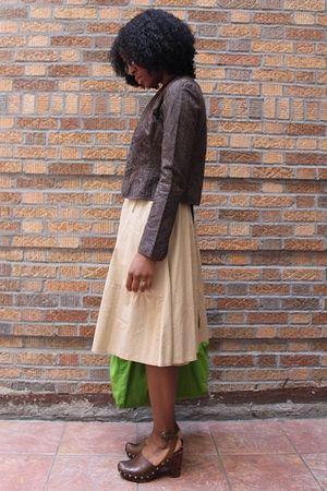 beige DKNY dress - brown Elie Tahari jacket - brown Miu Miu shoes - green DKNY p