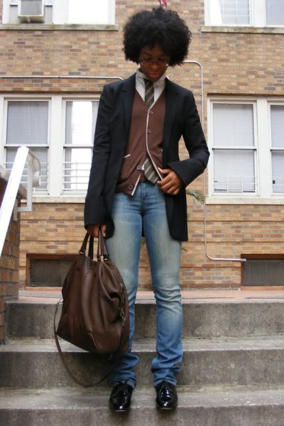 firma jacket - f21 sweater - banana republic shirt - dieppa restrepo shoes - Bur