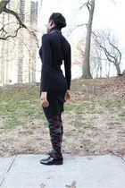 black bcbg max azria dress - gray tights - black dieppa restrepo shoes - beige Z