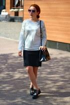 black Prada boots - black Prada bag - silver Club Monaco sweatshirt