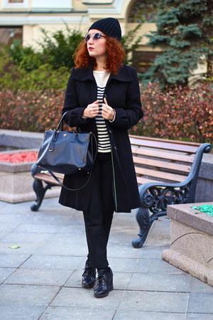 black Prada boots - black MaxMara coat - white bcbg max azria shirt