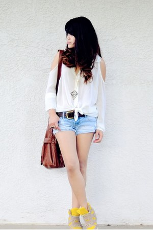 white chiffon Forever 21 shirt - brown Ross bag