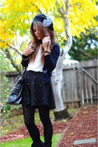 black pleated skirt OASAP skirt - black suede Shoedazzle boots