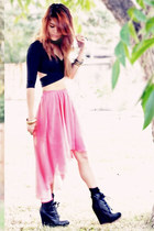 black criss cross top Nasty Gal top - bubble gum high low skirt Nasty Gal skirt