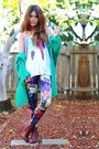 Magenta-floral-print-romwe-leggings-green-knitted-free-people-cardigan