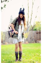 heather gray Forever 21 dress - brown combat boots just fab boots