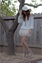 white knitted Forever 21 sweater - ivory tutu OASAP skirt