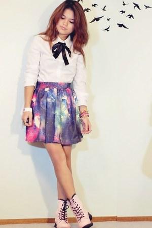 deep purple galaxy OASAP skirt - bubble gum combat boots wholesale boots