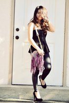 purple fringed just fab purse - black faux leather Sheinside pants