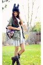 Brown-combat-boots-just-fab-boots-heather-gray-forever-21-dress