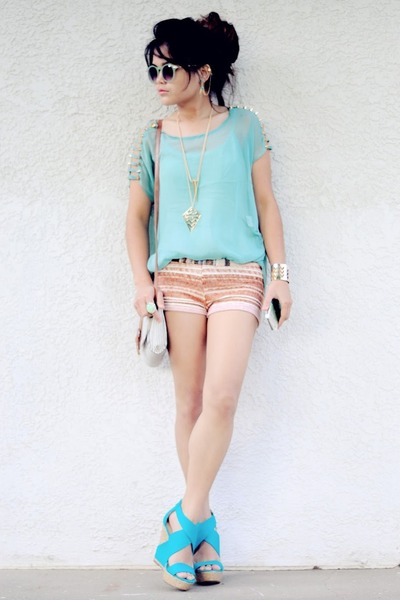 aquamarine mint Urban Outfitters sunglasses - bronze hot pants Shop Akira shorts