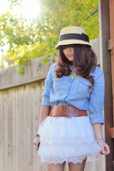 87e5d44a3f Light Blue Denim Bongo Shirts, White Lace Ross Skirts |
