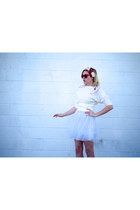 white tulle snidel dress - white wool vintage sweater