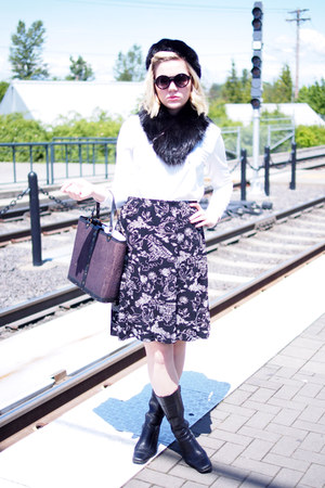 black fur vintage hat - white vintage blouse - black thrifted vintage skirt