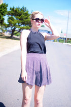 black Forever 21 sunglasses - black Loft skirt - black Loft top