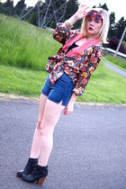coral Victorias Secret blazer - navy vintage shorts - ruby red PacSun sunglasses
