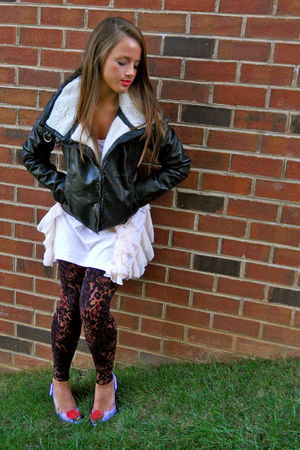 black H&M jacket - pink H&M dress - purple Forever 21 leggings - purple vivienne