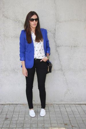 H&M blazer - Stradivarius bag - rayban sunglasses - H&M pants - Zara blouse