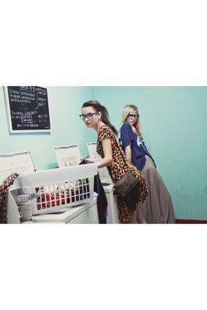 leopard print Mink Pink dress - boyfriend fit wildfox couture shirt - fringed Je